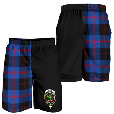 Tartan Mens Shorts - Clan Maule Crest & Plaid Shorts - Half Of Me Style