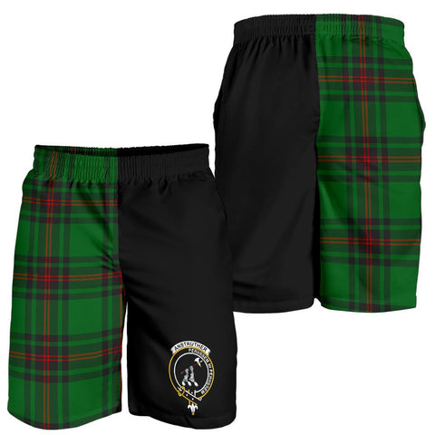 Image of Tartan Mens Shorts - Clan Anstruther Crest & Plaid Shorts - Half Of Me Style
