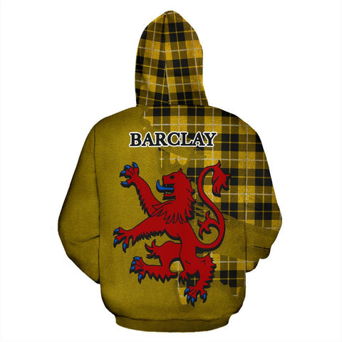 Image of Tartan Hoodie - Clan Barclay Dress Modern Crest & Plaid Hoodie - Scottish Lion & Map - Royal Style