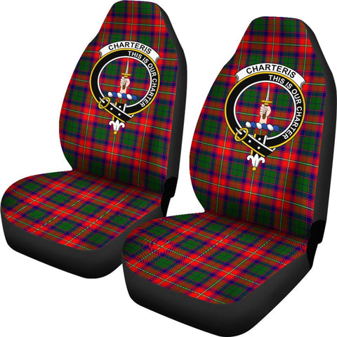 Charteris Tartan Car Seat Covers Clan Badge