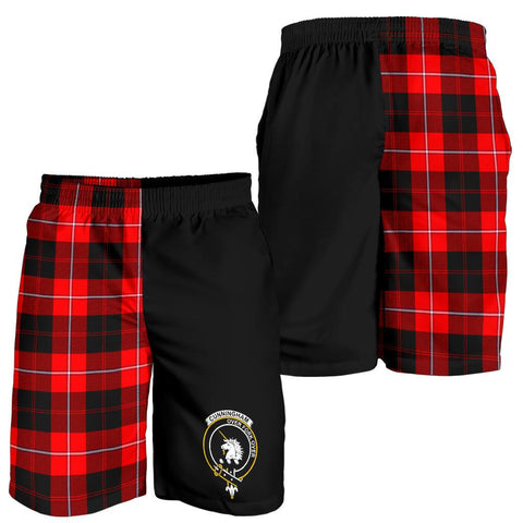 Tartan Mens Shorts - Clan Cunningham Crest & Plaid Shorts - Half Of Me Style