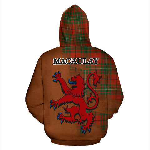 Tartan Hoodie - Clan MacAulay Ancient Crest & Plaid Zip-Up Hoodie - Scottish Lion & Map - Royal Style