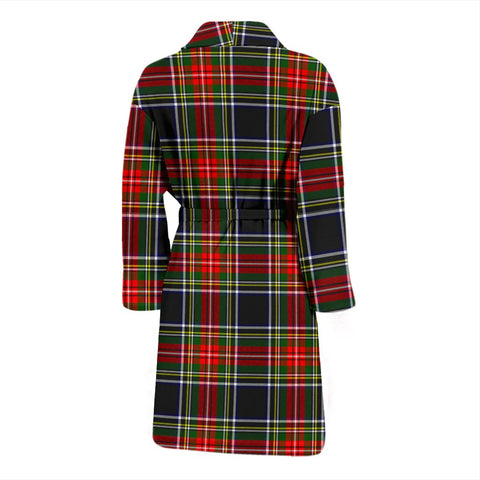 Stewart Black Bathrobe | Men Tartan Plaid Bathrobe | Universal Fit
