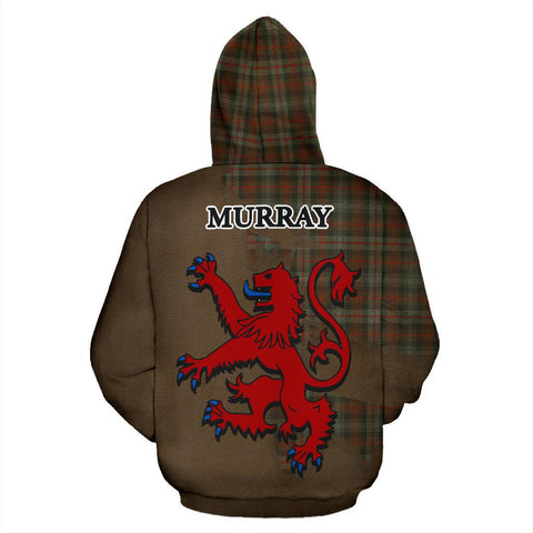 Image of Tartan Hoodie - Clan Murray of Atholl Weathered Crest & Plaid Hoodie - Scottish Lion & Map - Royal Style