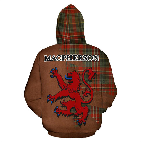 Tartan Hoodie - Clan MacPherson Weathered Crest & Plaid Zip-Up Hoodie - Scottish Lion & Map - Royal Style