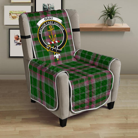 Clan Gray Hunting Plaid & Crest Tartan Sofa Protector - 23 Inches