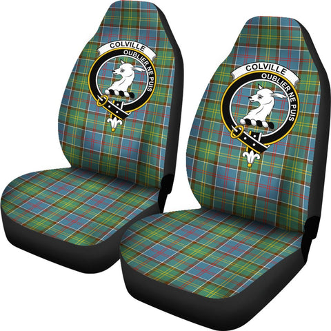 Colville Tartan Car Seat Covers Clan Badge