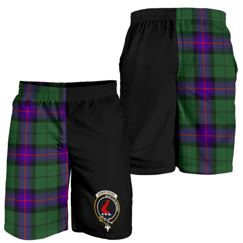 Image of Tartan Mens Shorts - Clan Armstrong Crest & Plaid Shorts - Half Of Me Style