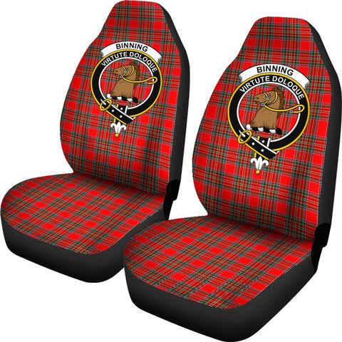 Binning Tartan Car Seat Covers Clan Badge