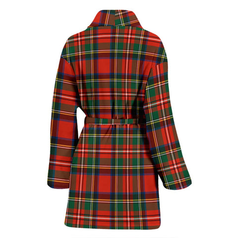 ScottishShop Stewart Royal Modern Bathrobe | Women Tartan Plaid Bathrobe