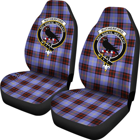 Rutherford Tartan Car Seat Covers - Clan Badge