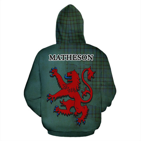 Tartan Hoodie - Clan Matheson Hunting Ancient Crest & Plaid Zip-Up Hoodie - Scottish Lion & Map - Royal Style