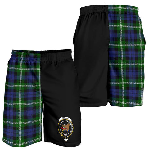 Image of Tartan Mens Shorts - Clan Baillie Crest & Plaid Shorts - Half Of Me Style
