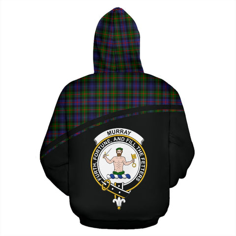 Murray of Atholl Tartan Custom Personalised Hoodie - Curve Style Back