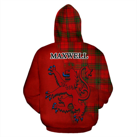 Tartan Hoodie - Clan Maxwell Modern Crest & Plaid Hoodie - Scottish Lion & Map - Royal Style