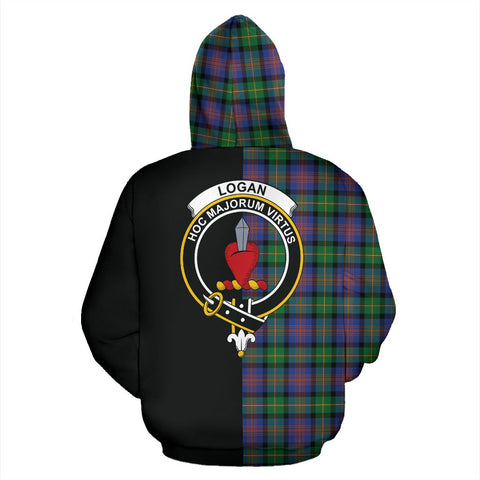 Logan Ancient Tartan Zip Up Hoodie Half Of Me - Black & Tartan