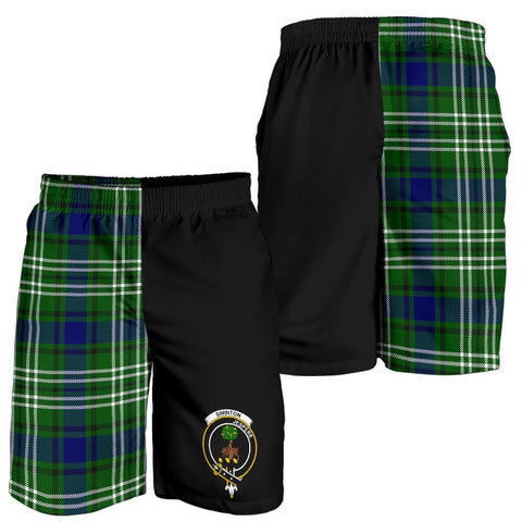 Image of Tartan Mens Shorts - Clan Swinton Crest & Plaid Shorts - Half Of Me Style