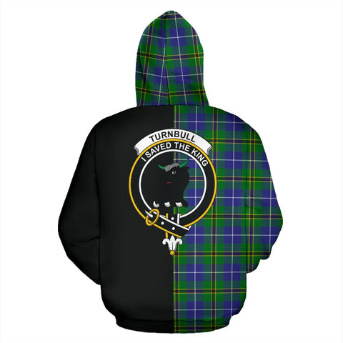 Turnbull Hunting Tartan Zip Up Hoodie Half Of Me - Black & Tartan