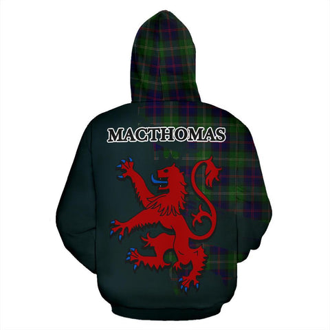 Tartan Hoodie - Clan MacThomas Modern Crest & Plaid Zip-Up Hoodie - Scottish Lion & Map - Royal Style