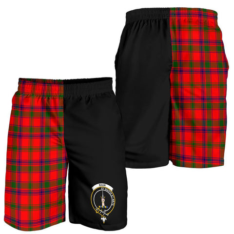 Tartan Mens Shorts - Clan Bain Crest & Plaid Shorts - Half Of Me Style