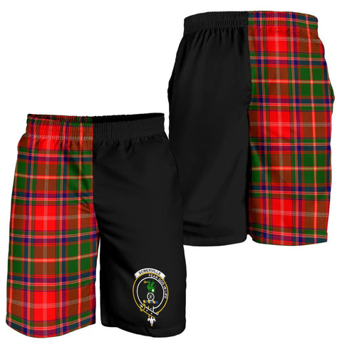 Image of Tartan Mens Shorts - Clan Somerville Crest & Plaid Shorts - Half Of Me Style