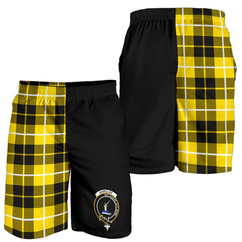 Tartan Mens Shorts - Clan Barclay Crest & Plaid Shorts - Half Of Me Style