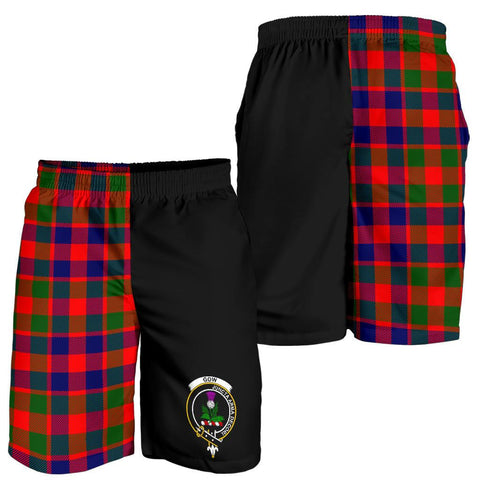 Tartan Mens Shorts - Clan Gow of Skeoch Crest & Plaid Shorts - Half Of Me Style
