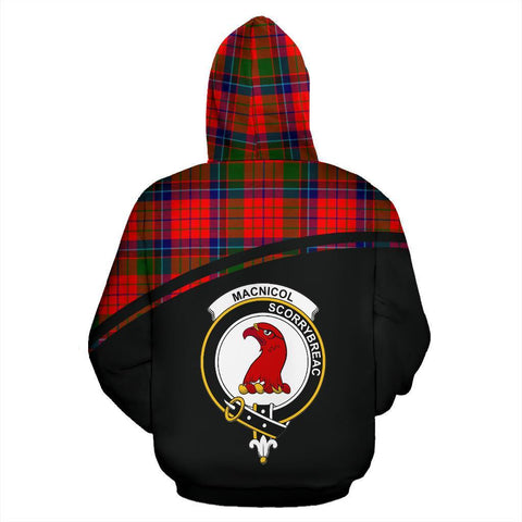 Image of MacNicol of Scorrybreac Tartan Custom Personalised Hoodie - Curve Style Back