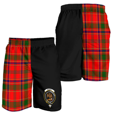 Image of Tartan Mens Shorts - Clan Munro Crest & Plaid Shorts - Half Of Me Style