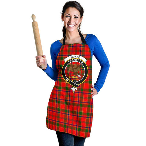 Image of Tartan Apron - Munro Modern Apron With Clan Crest HJ4