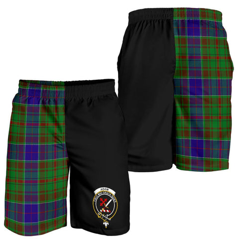 Image of Tartan Mens Shorts - Clan Adam Crest & Plaid Shorts - Half Of Me Style