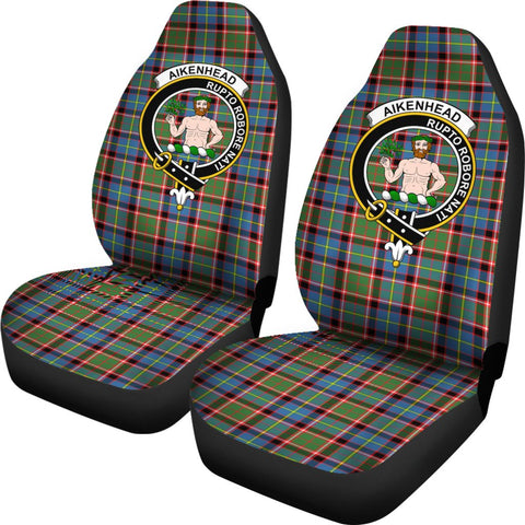Aikenhead Tartan Car Seat Covers Clan Badge