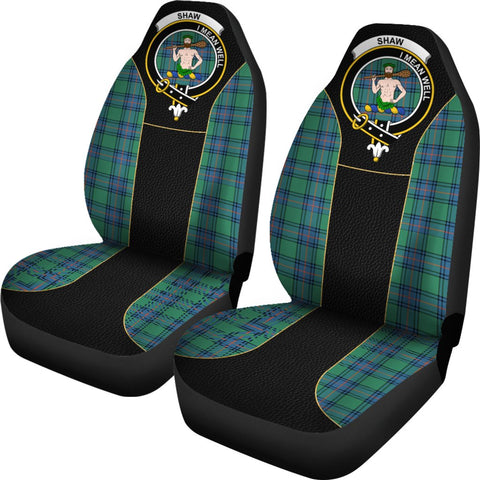 ScottishShop Seat Cover - Tartan Crest Shaw (Of Sauchie) Tartan Car Seat Cover Clan Badge - Special Version - Universal Fit