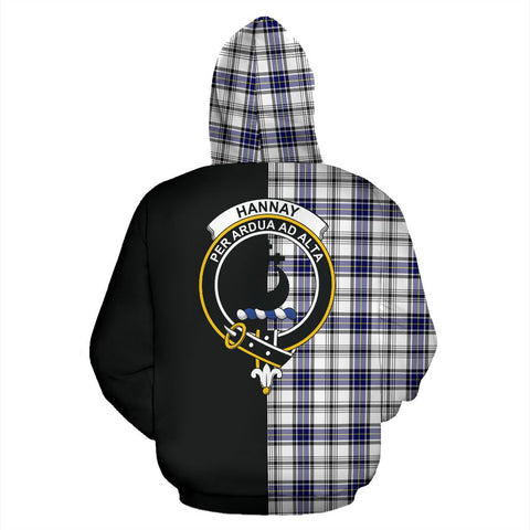 Image of Hannay Modern Tartan Zip Up Hoodie Half Of Me - Black & Tartan