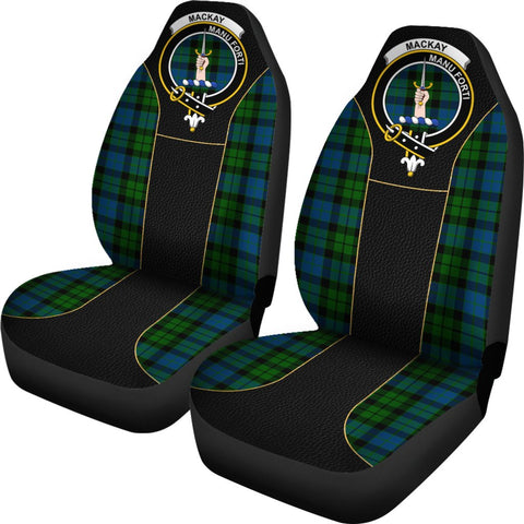 ScottishShop Seat Cover - Tartan Crest Mackay Tartan Car Seat Cover Clan Badge - Special Version - Universal Fit