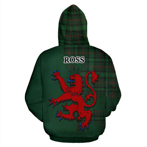 Image of Tartan Hoodie - Clan Ross Hunting Modern Crest & Plaid Hoodie - Scottish Lion & Map - Royal Style