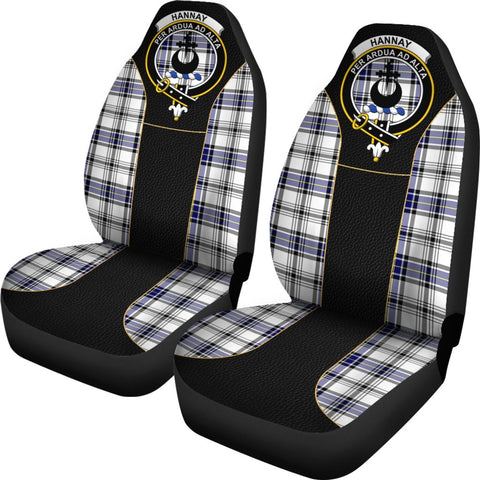 Image of Seat Cover - Tartan Crest Hannay Tartan Car Seat Cover Clan Badge - Special Version - Universal Fit