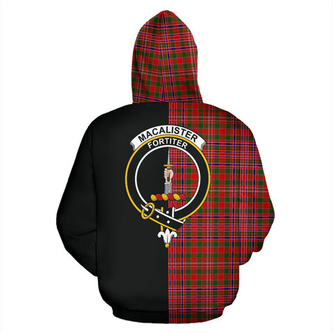Image of MacAlister Modern Tartan Zip Up Hoodie Half Of Me - Black & Tartan