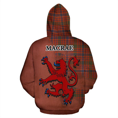 Image of Tartan Hoodie - Clan MacRae Ancient Crest & Plaid Zip-Up Hoodie - Scottish Lion & Map - Royal Style