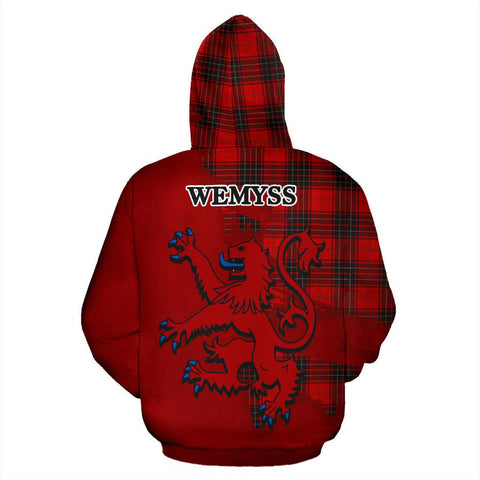 Tartan Hoodie - Clan Wemyss Modern Crest & Plaid Hoodie - Scottish Lion & Map - Royal Style