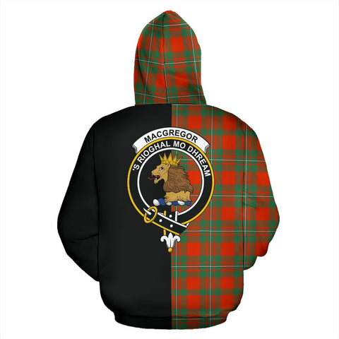 MacGregor Ancient Tartan Zip Up Hoodie Half Of Me - Black & Tartan
