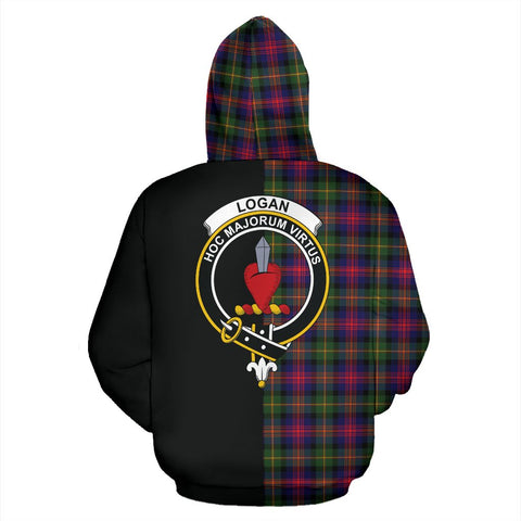 Logan Modern Tartan Zip Up Hoodie Half Of Me - Black & Tartan