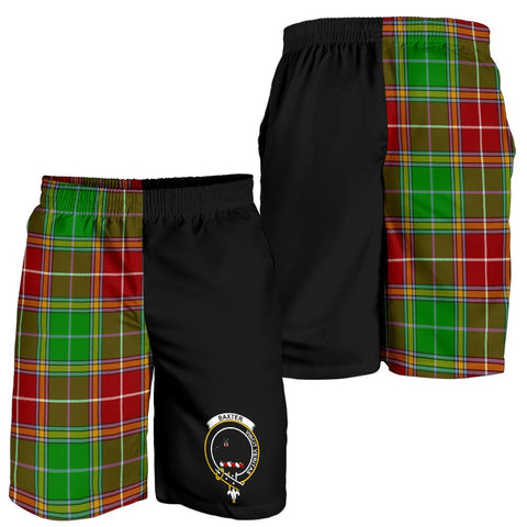 Image of Tartan Mens Shorts - Clan Baxter Crest & Plaid Shorts - Half Of Me Style