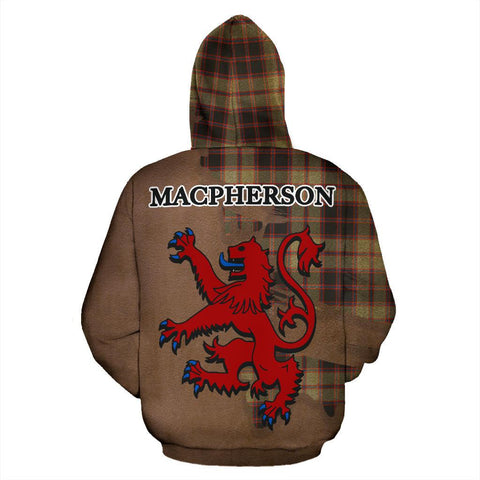 Tartan Hoodie - Clan MacPherson Hunting Ancient Crest & Plaid Zip-Up Hoodie - Scottish Lion & Map - Royal Style