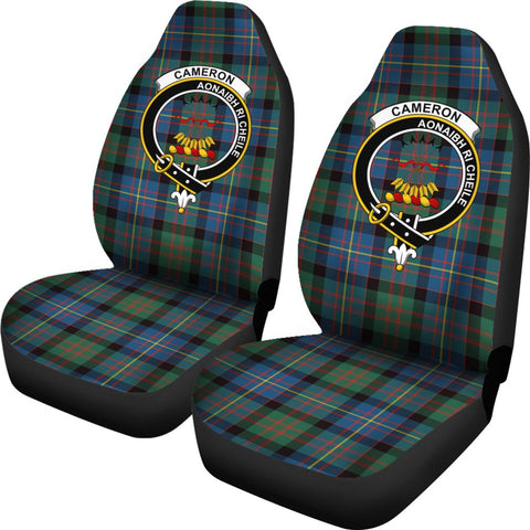 Cameron Of Errach Tartan Car Seat Covers Clan Badge