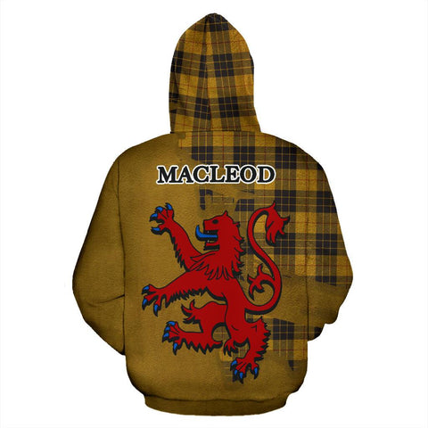 Tartan Hoodie - Clan MacLeod of Lewis Ancient Crest & Plaid Zip-Up Hoodie - Scottish Lion & Map - Royal Style