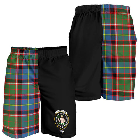 Image of Tartan Mens Shorts - Clan Aikenhead Crest & Plaid Shorts - Half Of Me Style