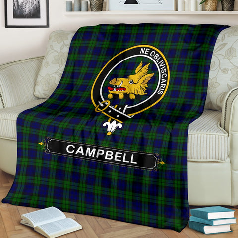 Image of Campbell Crest Tartan Blanket | Tartan Home Decor | ScottishShop