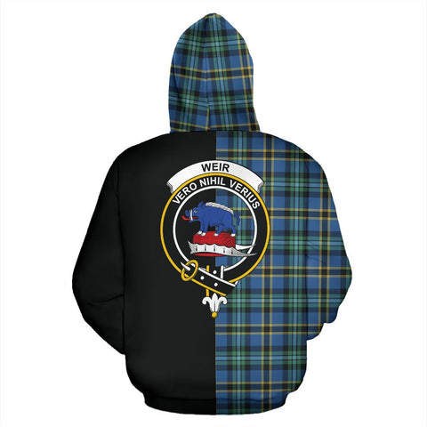 Weir Ancient Tartan Zip Up Hoodie Half Of Me - Black & Tartan