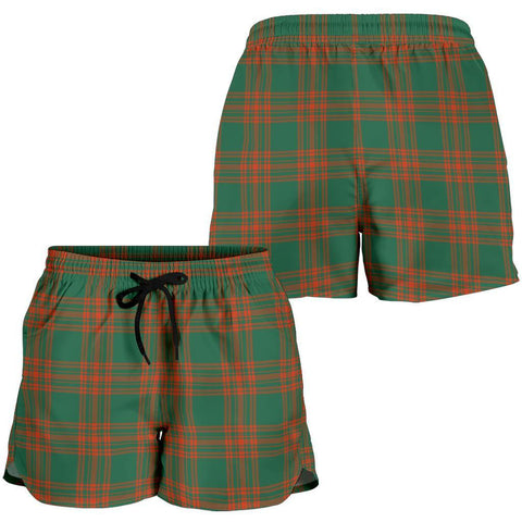 Menzies Green Ancient Tartan Shorts For Women
